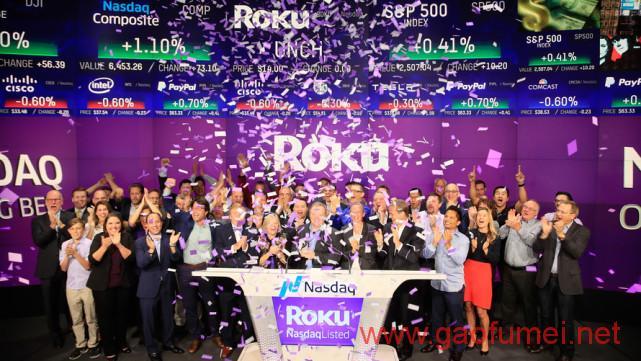 美国第一大视频服务商ROKU上市第一天涨幅达68%