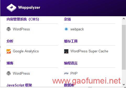 chrome的网站技术分析插件Wappalyzer