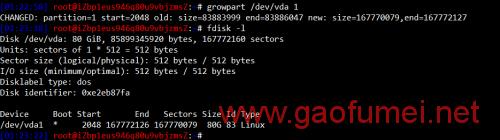 安装完成后,第一步是使用 growpart /dev/vda 1 命令,扩容分区。如图可以看到/dev/vda1已经变为80GB。