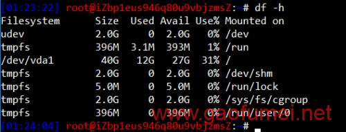 此时如果用df -h查看文件系统,可以看到分区虽然已经增大,文件系统仍然是40GB