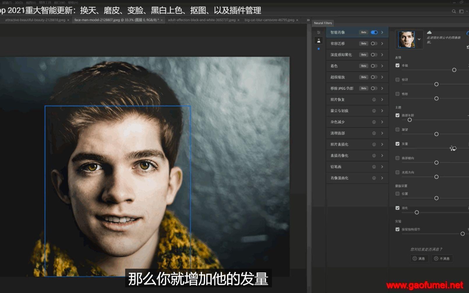 巅峰之作——【Photoshop 2021】重大智能更新:换天、磨皮、变脸、黑白上色、抠图、以及插件管理介绍