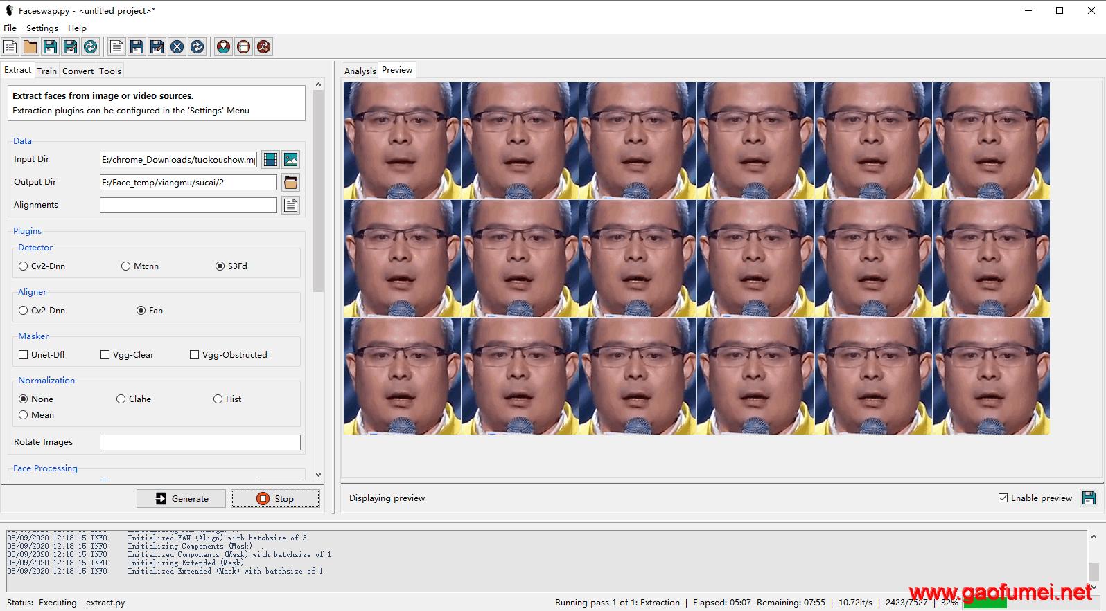 给视频当中的人物动态换脸神器Facewap的使用方法(比肩DeepFaces的神器)